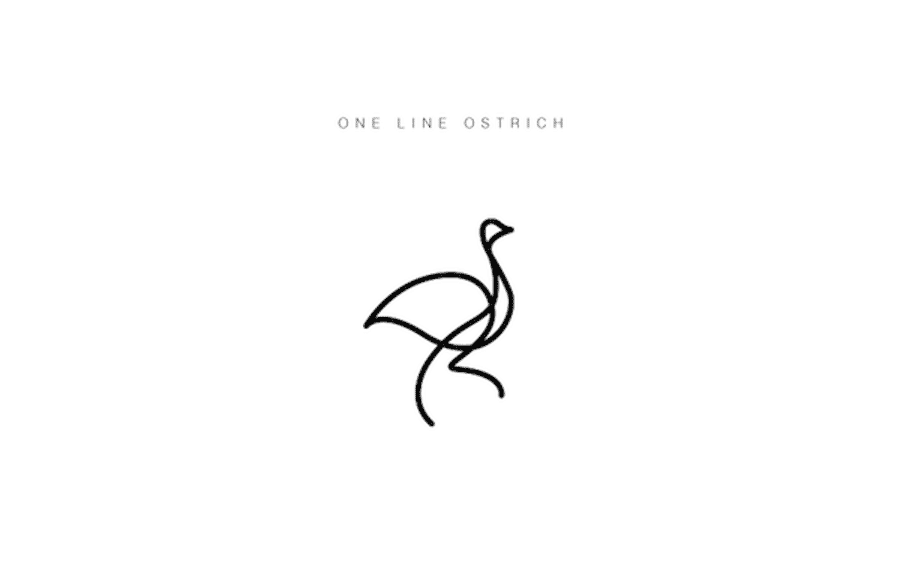 one-line-ostrich-logo-design