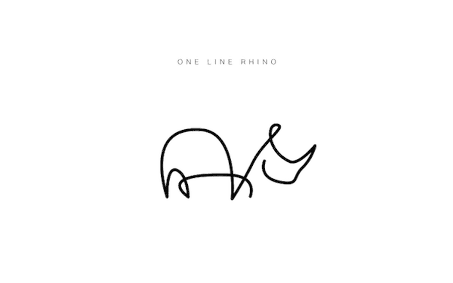 one-line-rhino-logo-design