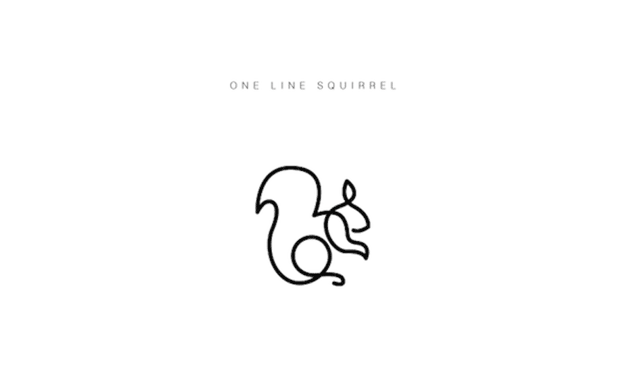 one line animal logos squirrel