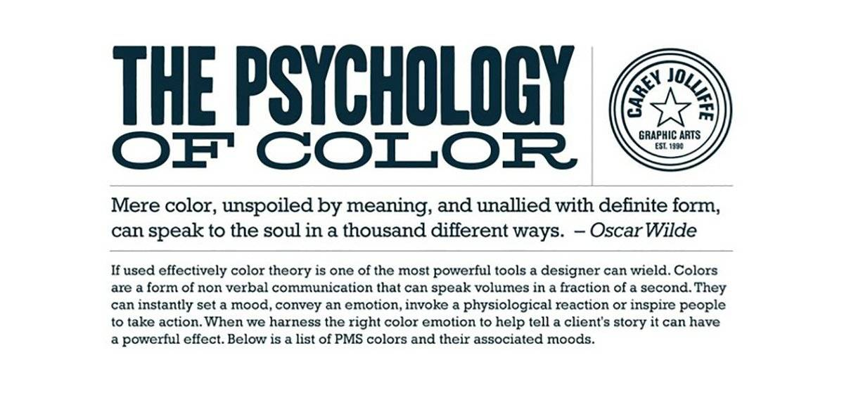 The Psychology Of Color Chart And Their Associated Moods In Pms