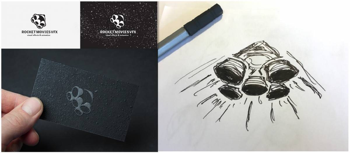 Rocket Movies Business Card Mock-up and Sketches 2