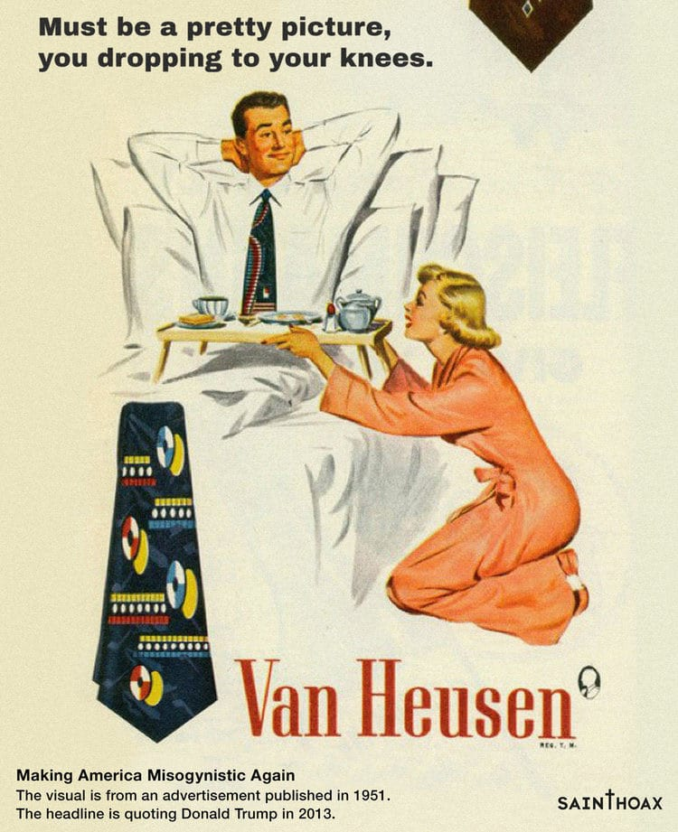 Misogynistic Vintage 1950s Ads with Sexist Quotes from Donald Trump 6