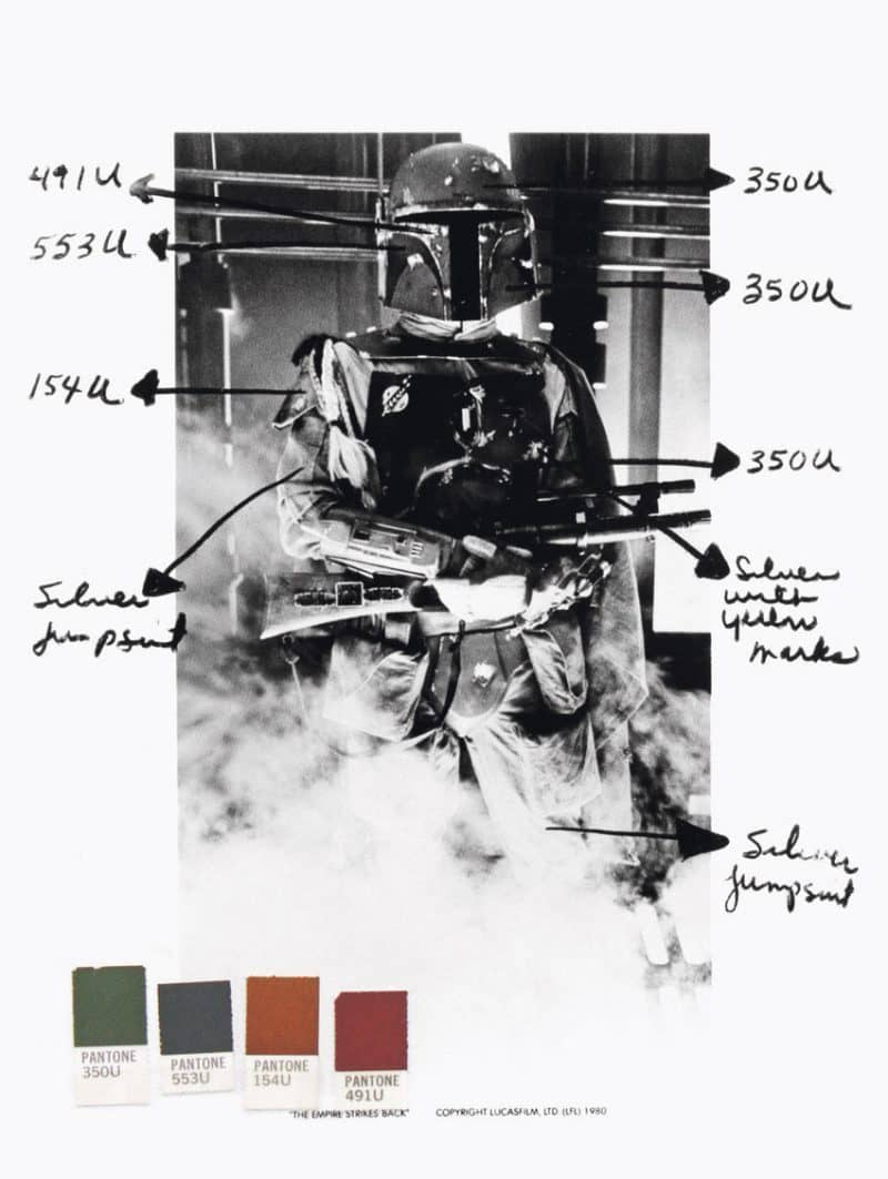 The Pantone Colour References for Star Wars Character Boba Fett