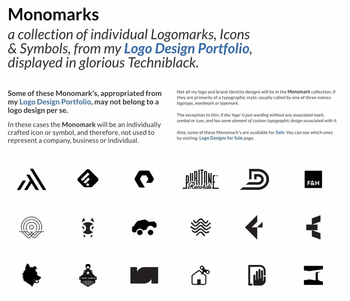 Monomarks a collection of individual Logomarks and Logo Designs