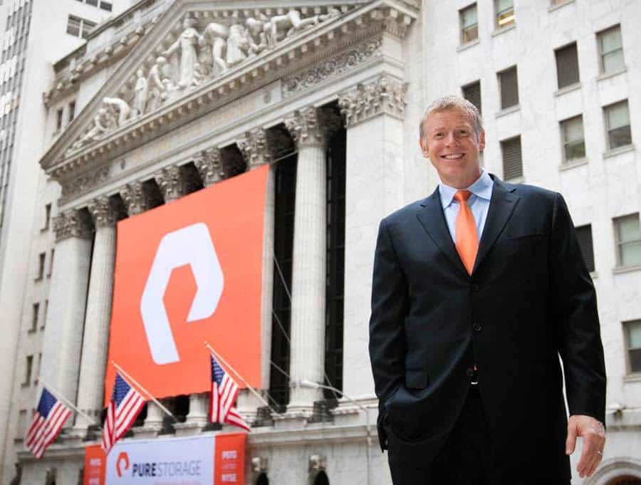 Pure Storage Logo CEO Scott Dietzen Wall Street Stock Exchange