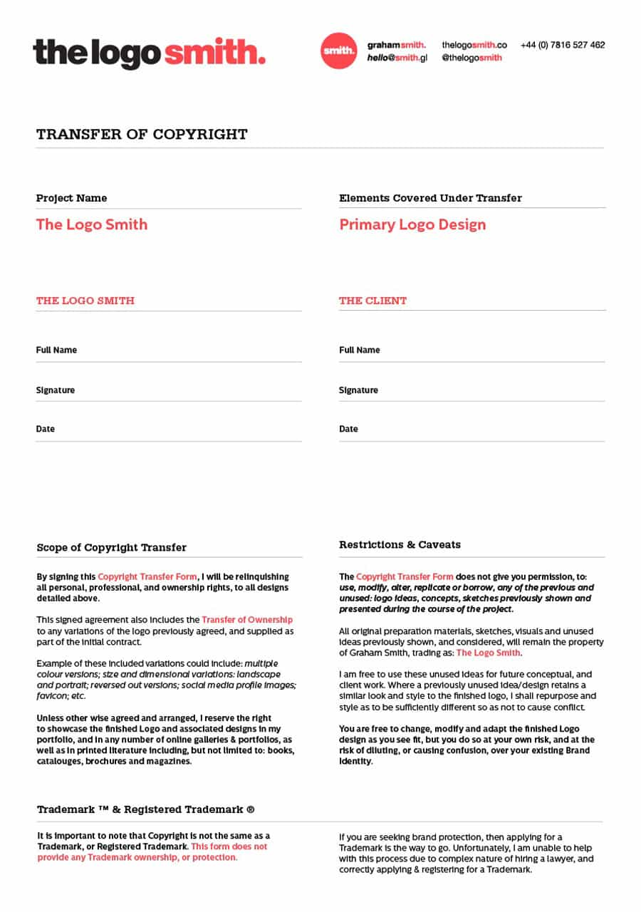 Design Transfer of Copyright Form - InDesign Template for Download