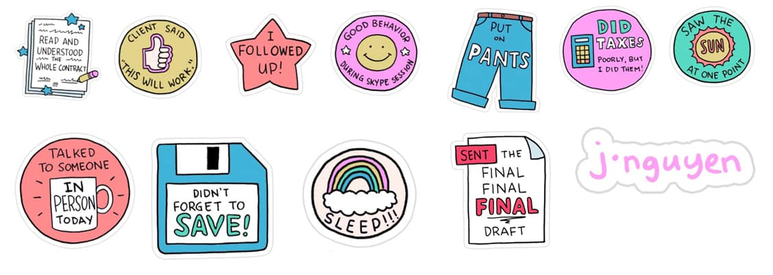16 achievement stickers for freelance logo designers