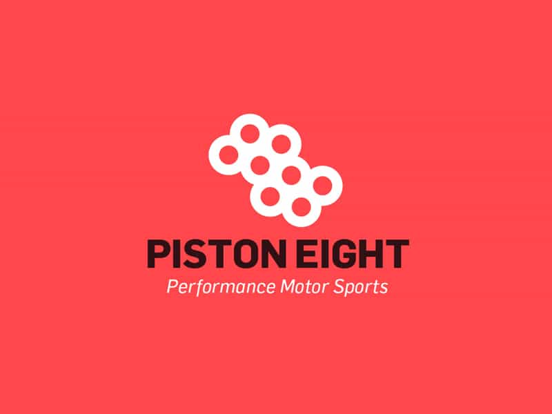 Piston Eight: Performance Motor Sports Logo Design for Sale