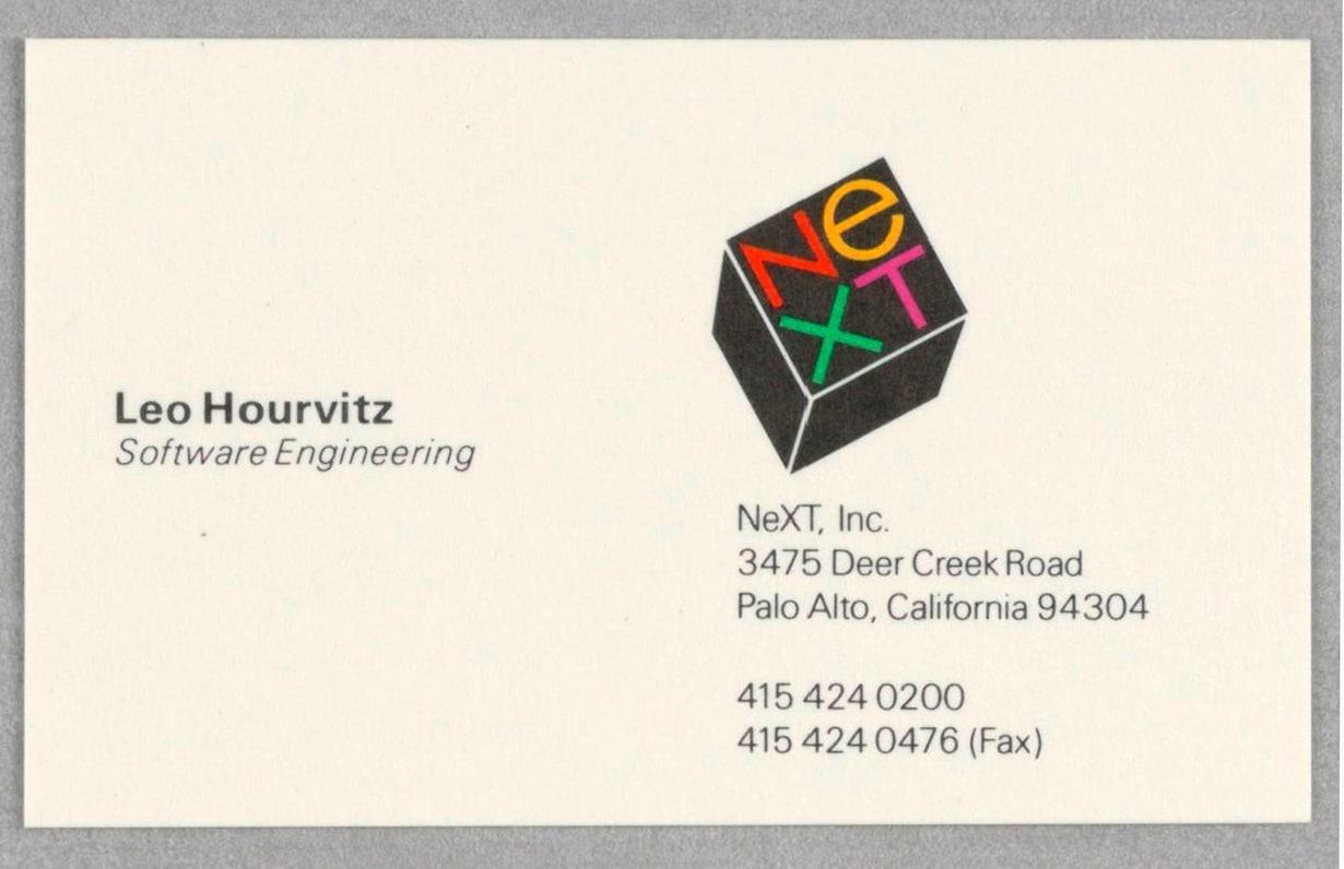 NeXT Stationery Business Card Leo Hourvitz