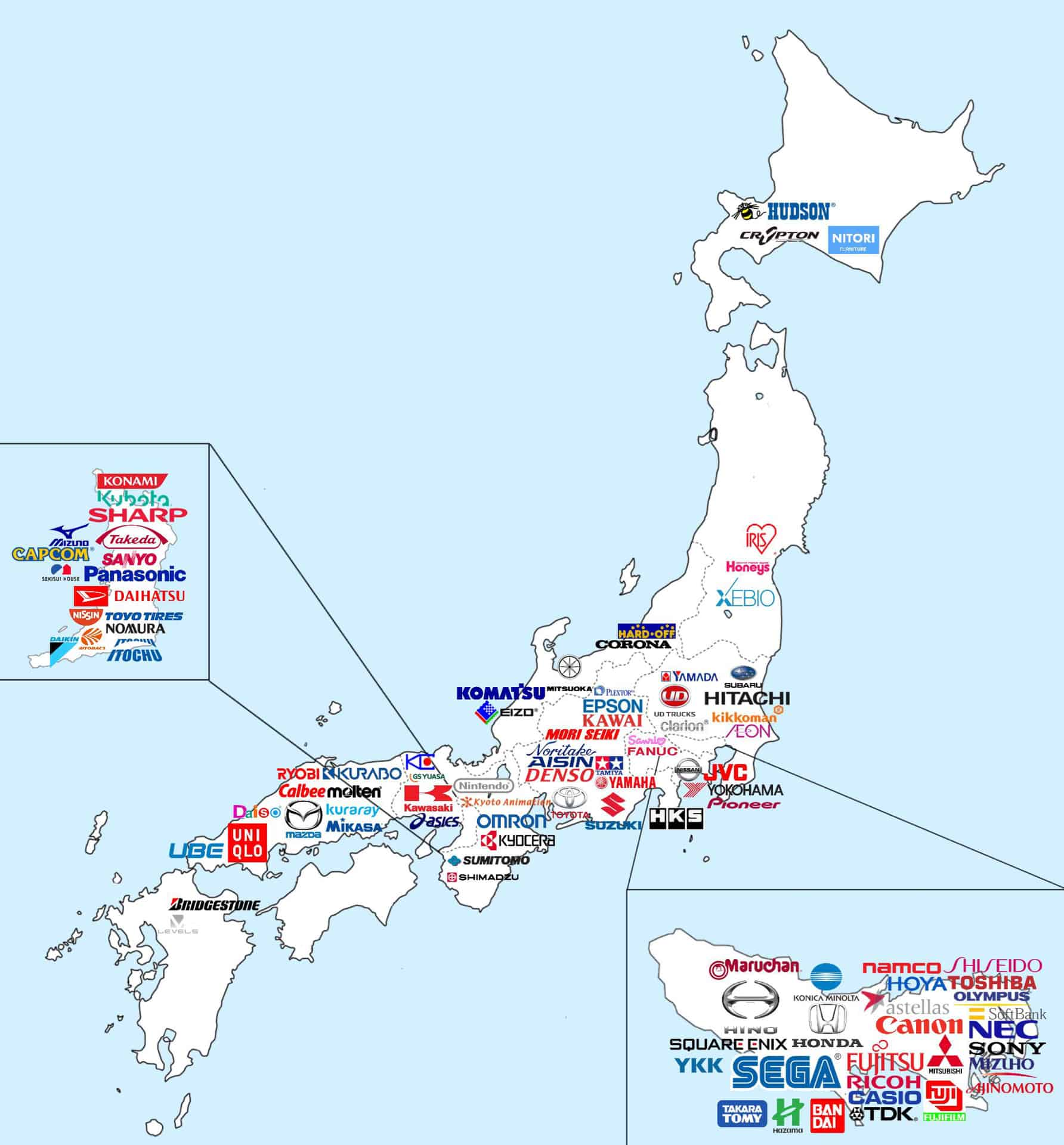 map of major japanese brands