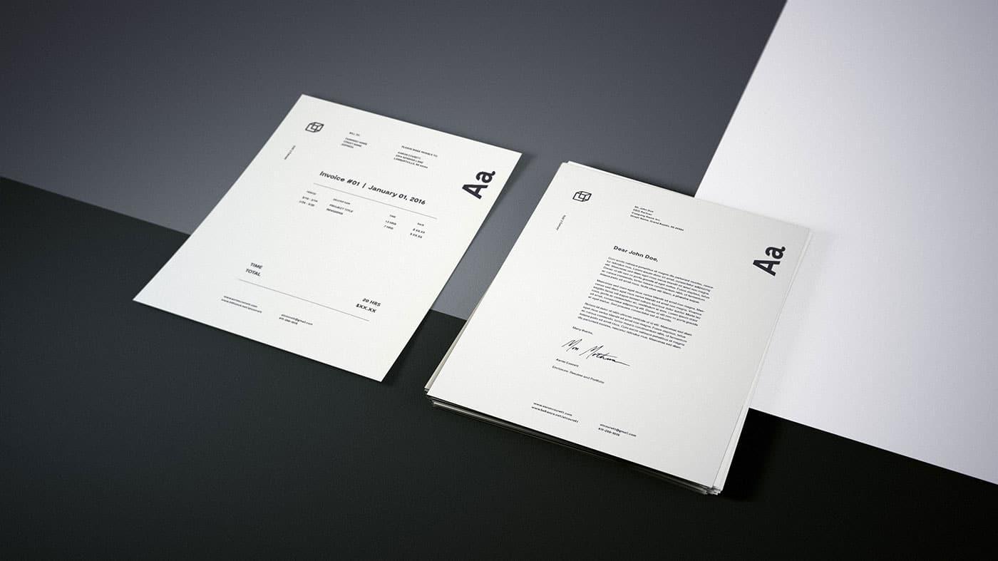 Granite Stationery Logo Brand Identity PSD Mockup by Aaron Covrett