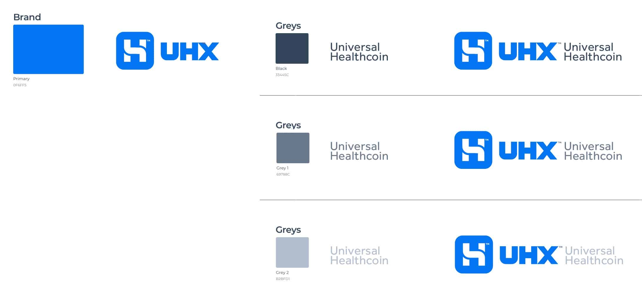 UHX Universal Healthcoin & Exchange Logo & Brand Identity Designed by The Logo Smith
