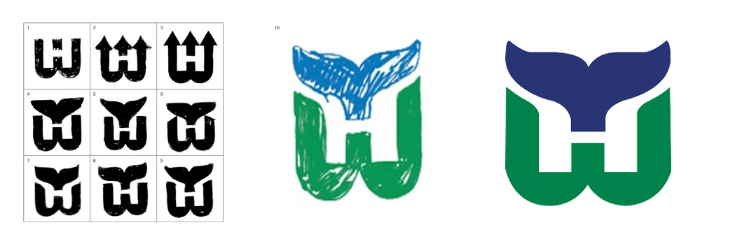 Early Logo Drafts for the Hartford Whalers Logo Designed by Peter Good