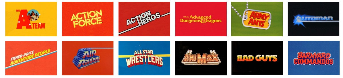 Vintage 80's TV Show Action Figure Brand Logo Designs by Reagan Ray