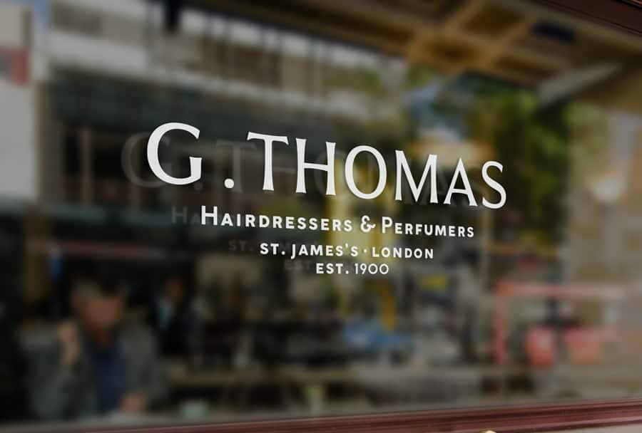 G Thomas Hairdresser Logo Brand Identity Shop Front