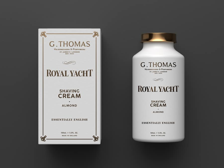 G Thomas Hairdresser Logo Brand Identity Royal Yacht Shaving Creams