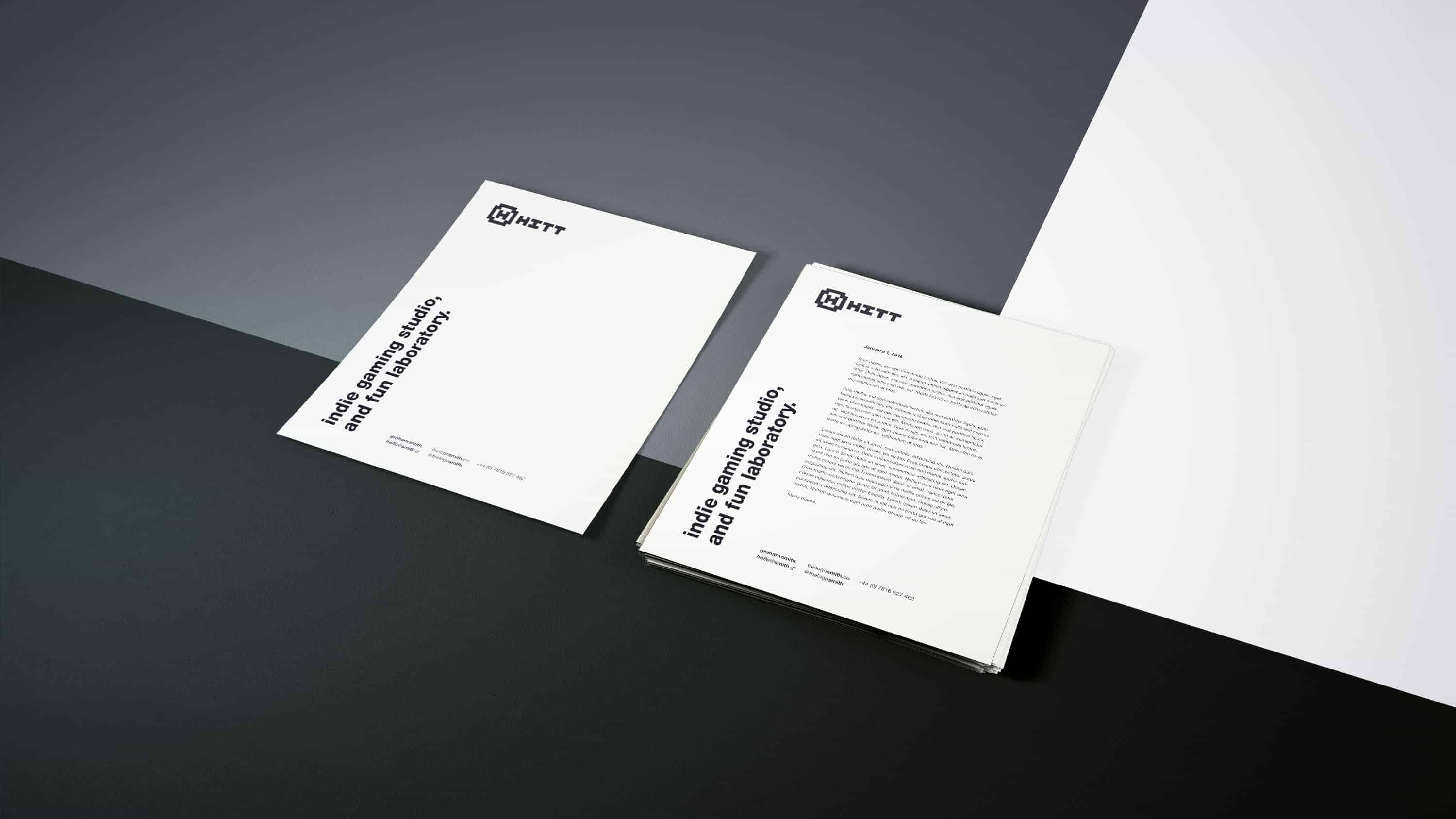 HITT gaming studio logo brand identity stationery design 3