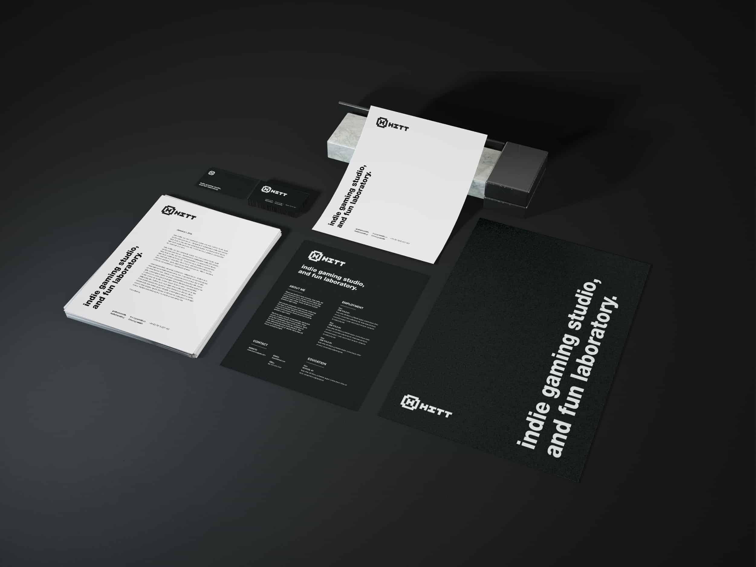 HITT gaming studio logo brand identity stationery design 3