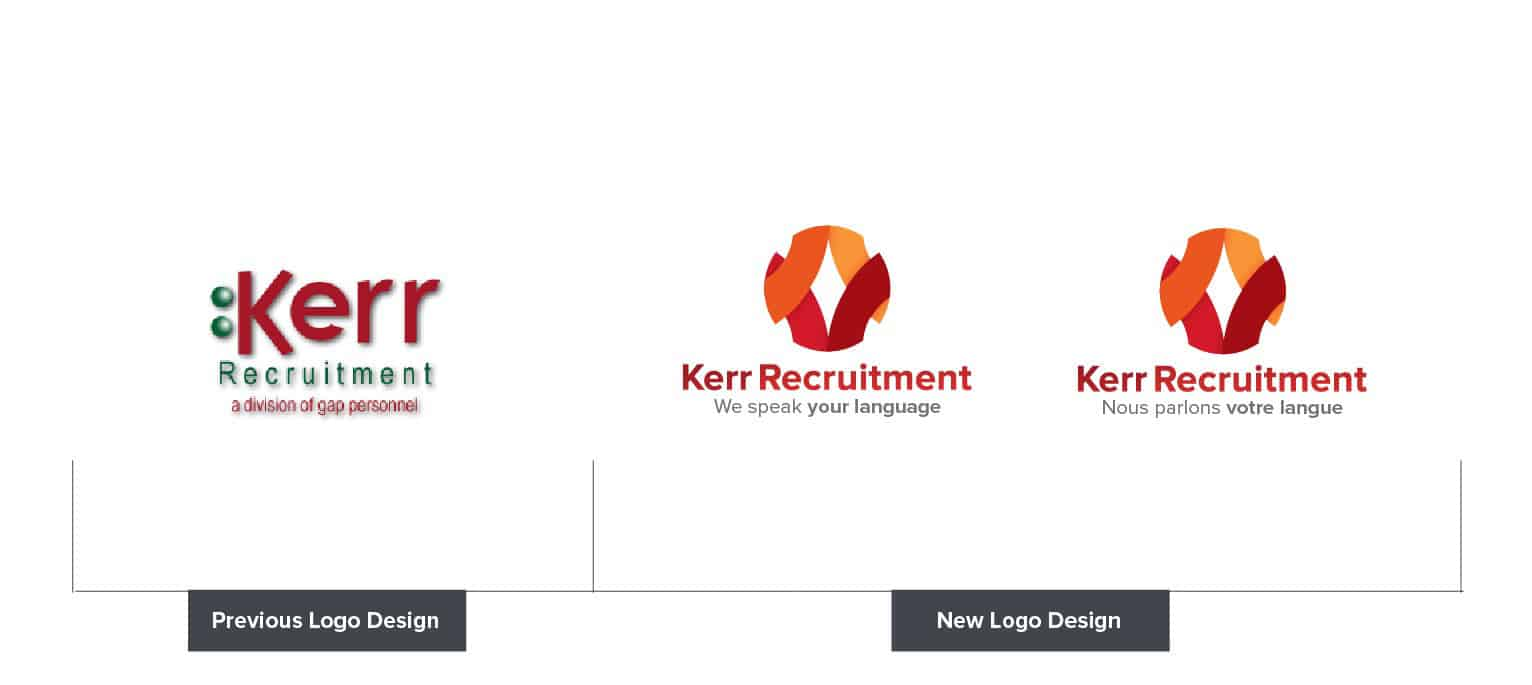Kerr Recruitment Old and New Logo Design
