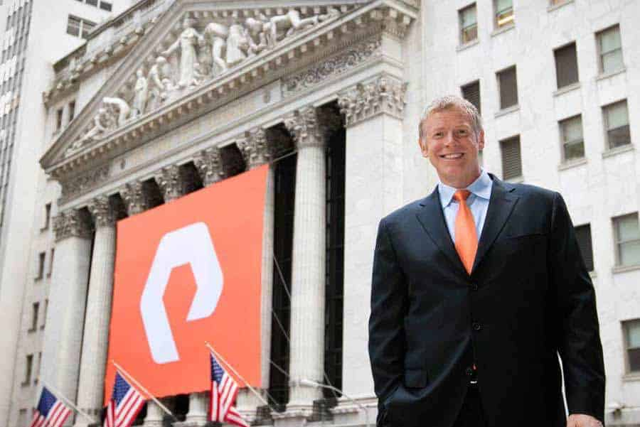 Pure Storage Logo Design on Wall Street Stock Exchange