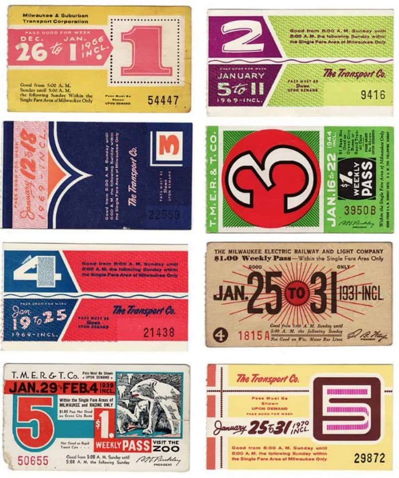 Beautifully Designed Vintage Milwaukee Bus Passes