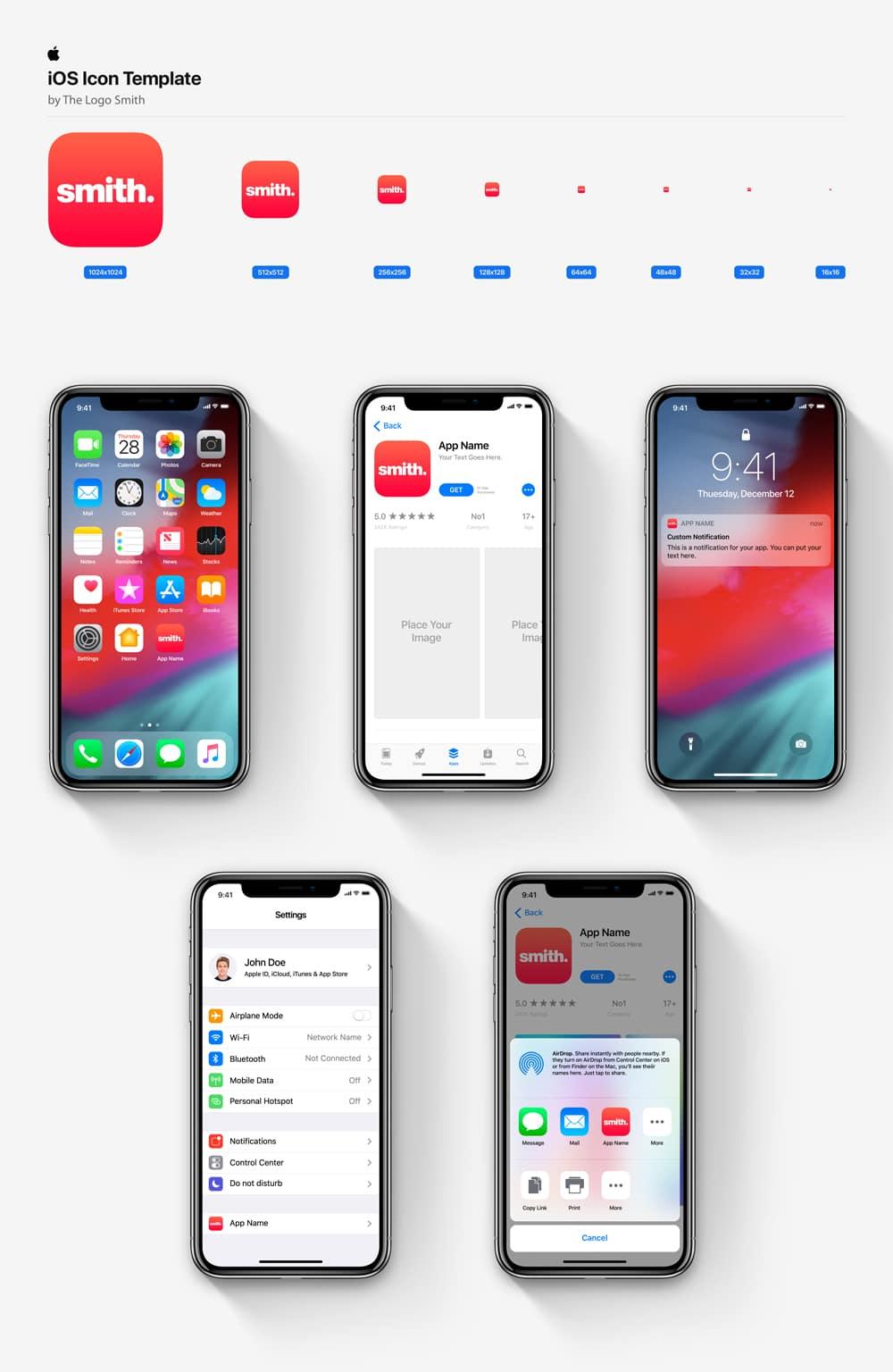 iOS Icon Template Mockup The Logo Smith Freelance Brand Designer