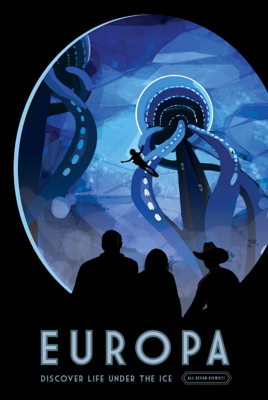 Europa Discover Life Under the Ice Visions of the Future Poster Series Designed by JPL