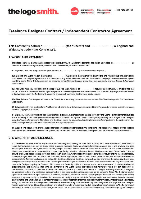 Freelance Design Contract Template The Logo Smith