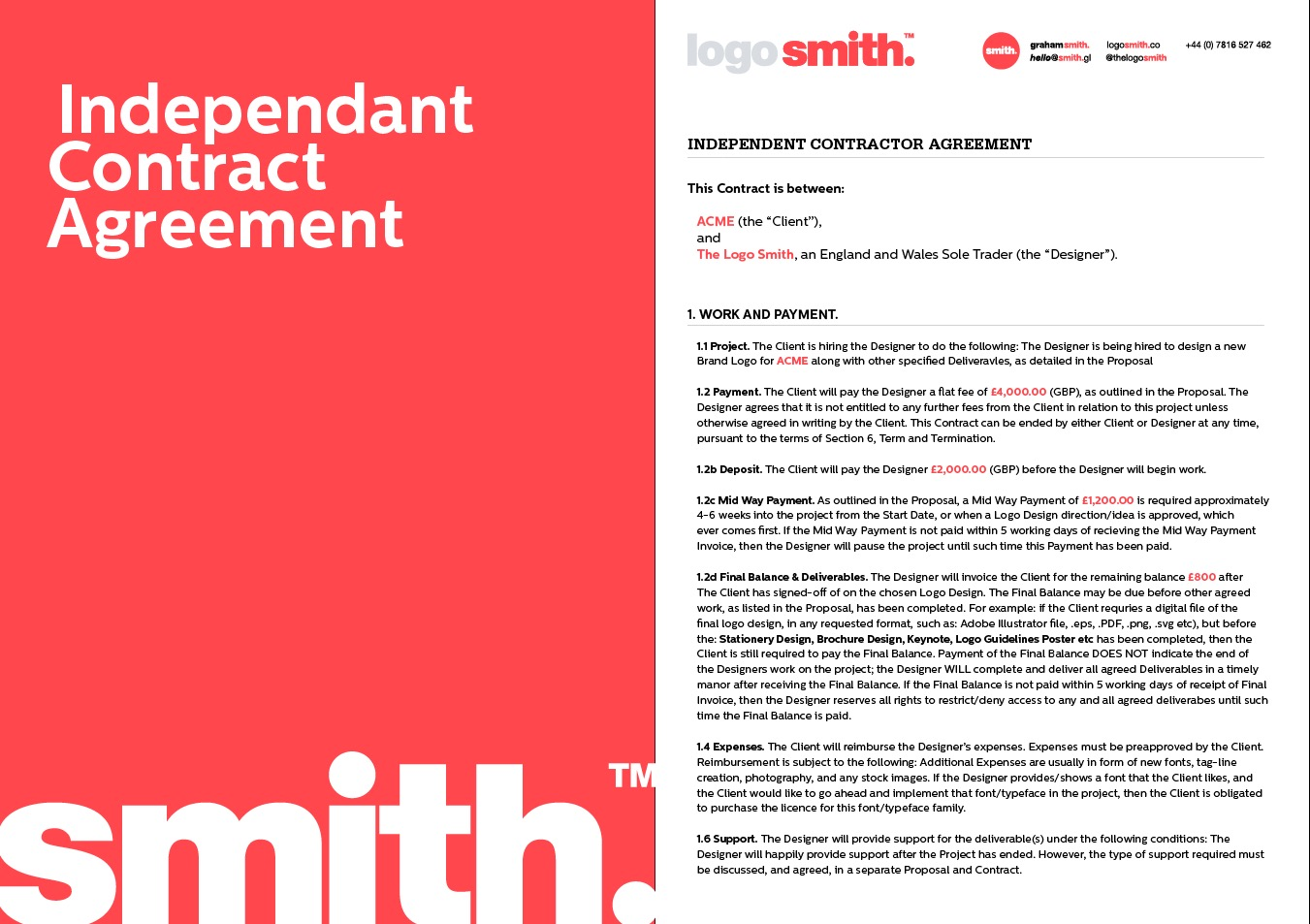 Freelance Designer Contract Independent Contractor Agreement Template to Download