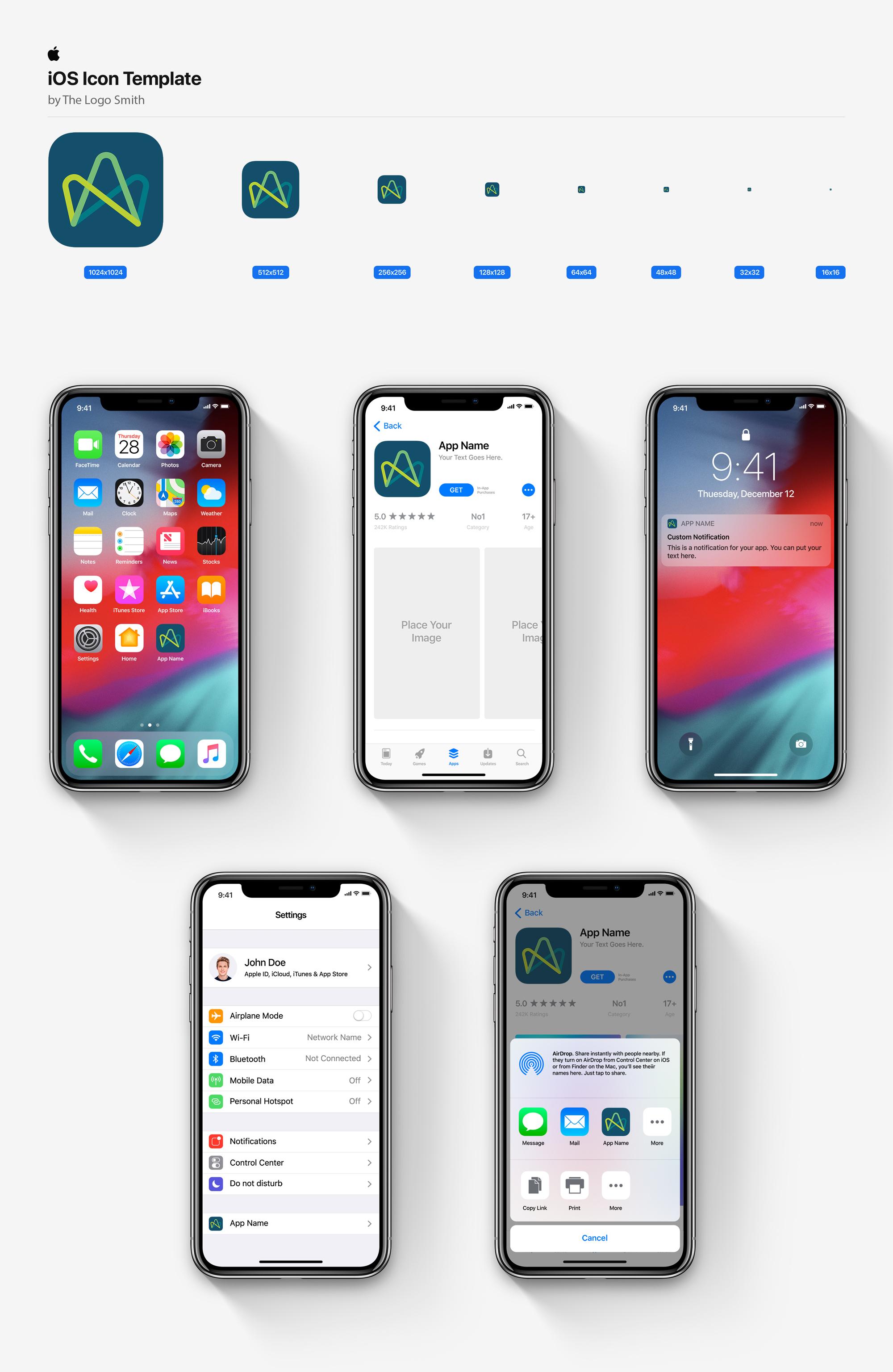 Advatera iOS Icon Template Mockup Designed by The Logo Smith Freelance Logo Designer