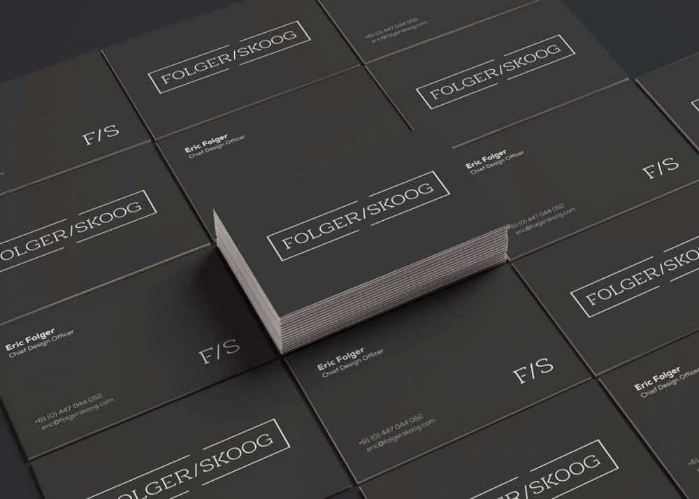 Folger Skoog Brand Identity Business Cards MockUp Designed by Freelance Logo Designer The Logo Smith