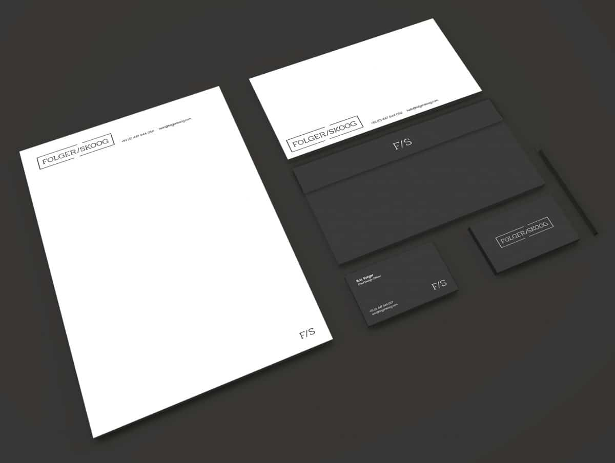 Folger Skoog Stationery Mock Up Designed by Freelance Logo Designer The Logo Smith Minimal