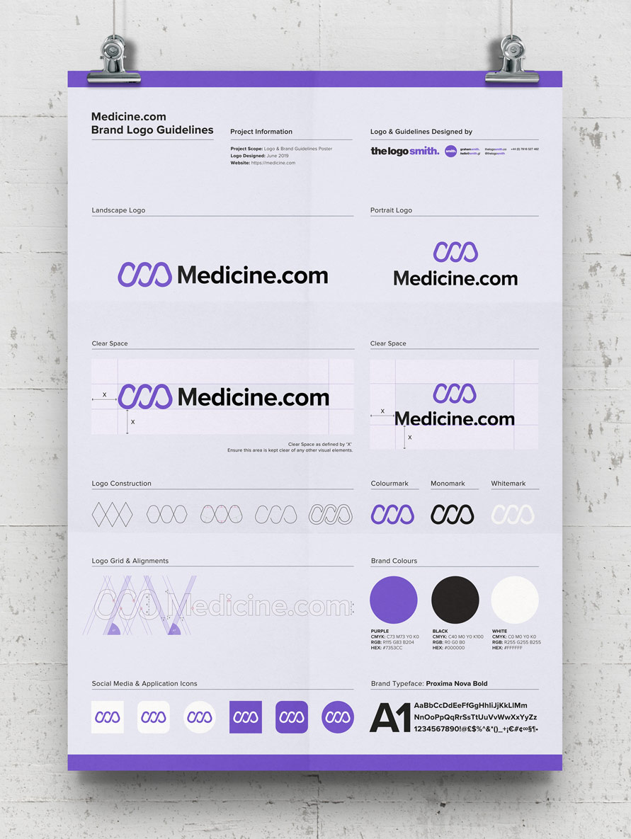 Medicine Logo Guidelines Poster Template Free A3 Poster Mockup