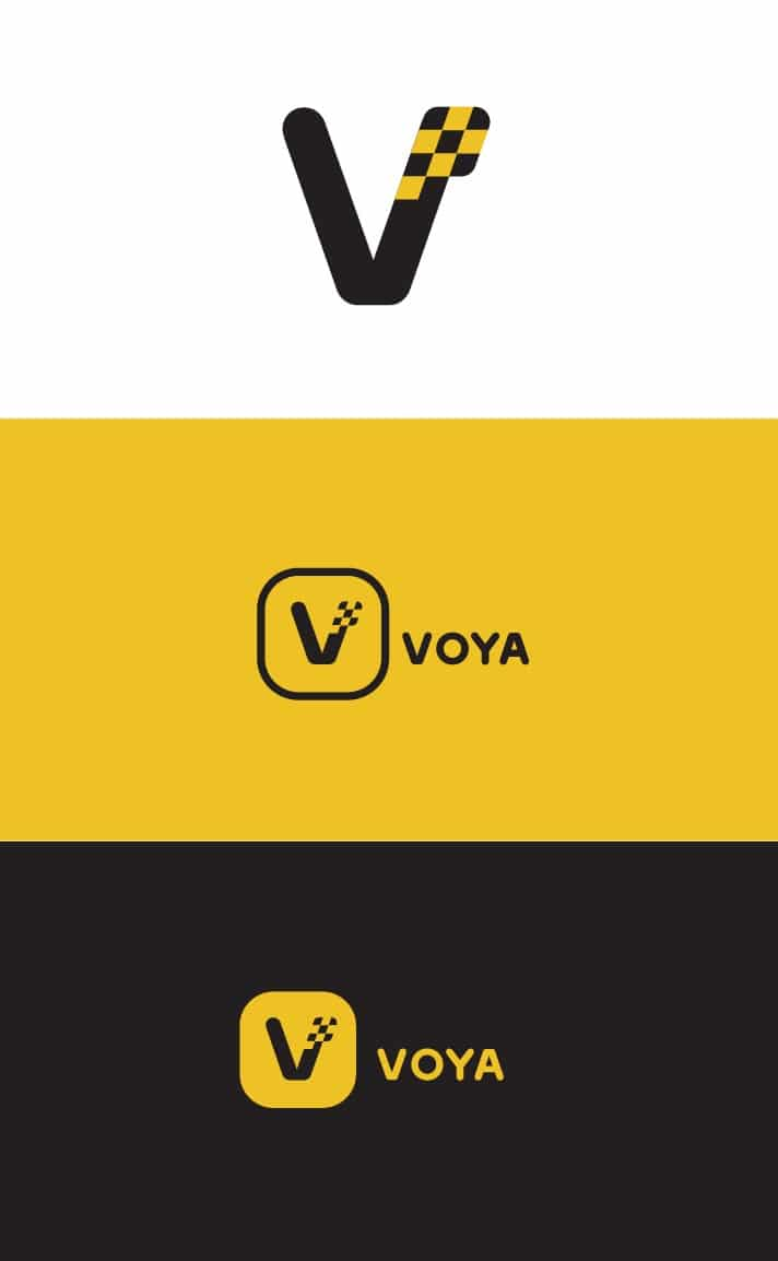 Voya Taxi Ride Hailing Logo and App Icon Design