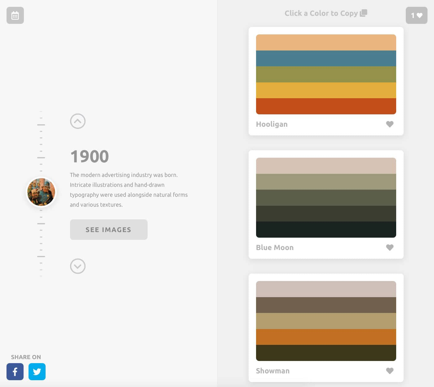Color Leap Take a leap through time and see the color palettes of history 1900 colours