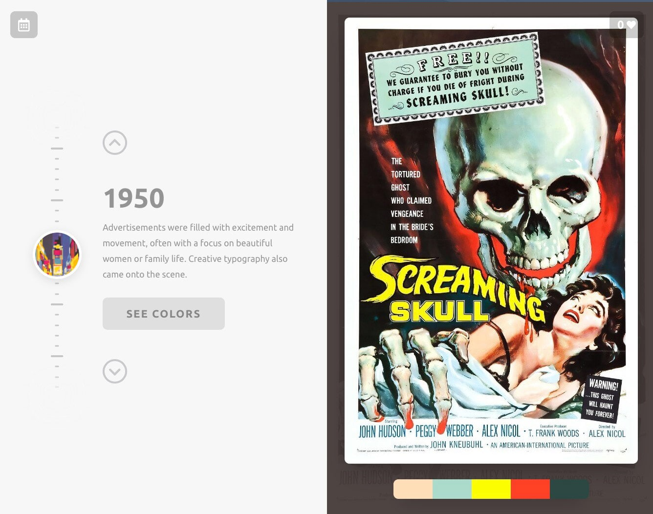 Color Leap Take a leap through time and see the color palettes of history 1950 colours
