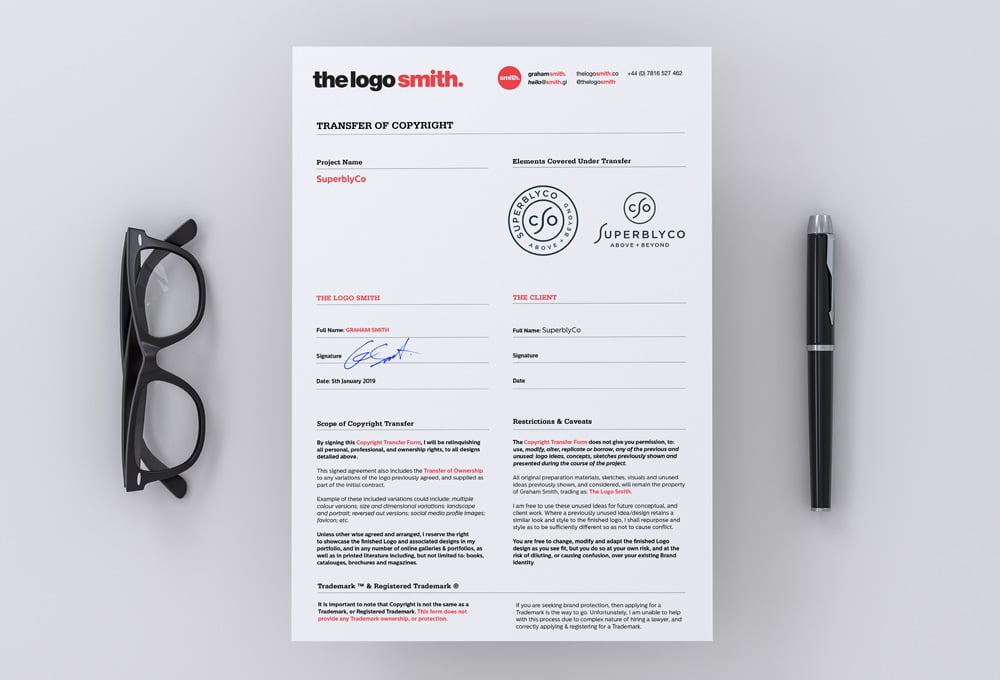 Logo Design Copyright Transfer to Client Form - InDesign Template for Download