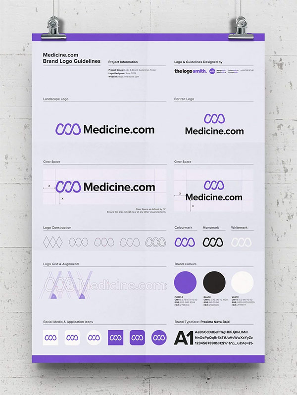 Medicine Brand Logo Guidelines Poster Template Free A3 Poster Mockup Designed by The Logo Smith