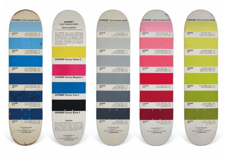 A set of five ryan mcguiness pantone skateboards supreme christies auction