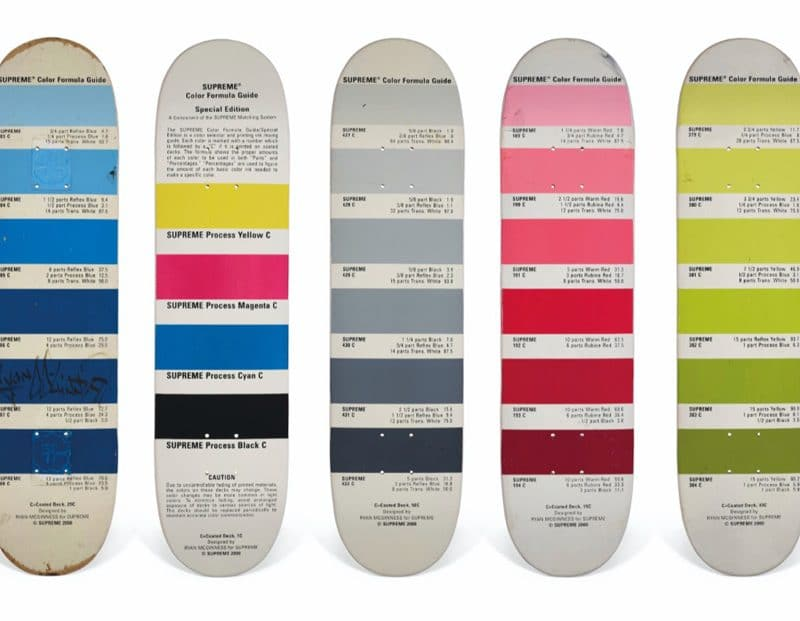 A set of five ryan mcguiness pantone skateboards supreme christies auction