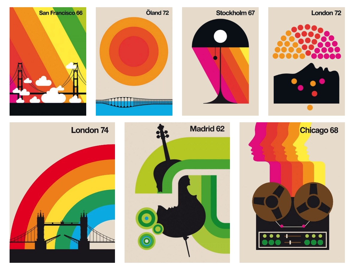 Around the World - Colourful Modern Vintage Posters Designed by Bo Lundberg