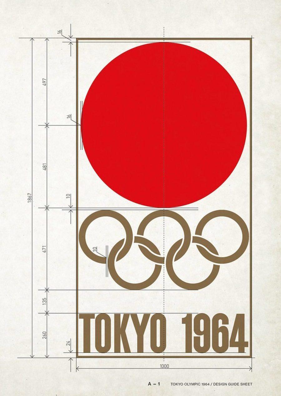 Tokyo Olympics 1964 Logo Design Guide Sheet Designed by Yusaku Kamekura
