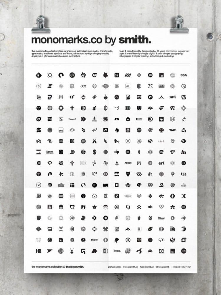white monochrome logo mark portfolio monomarks poster by the logo smith