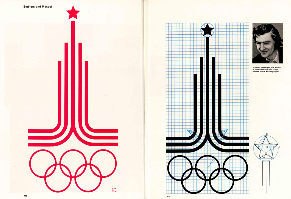 1980 Moscow Games Logo and Emblem Grid by Soviet designer Vladimir Arsentyev