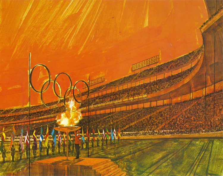 Artist depiction of the 1976 Denver Olympic Games Opening Ceremonies at Mile High Stadium