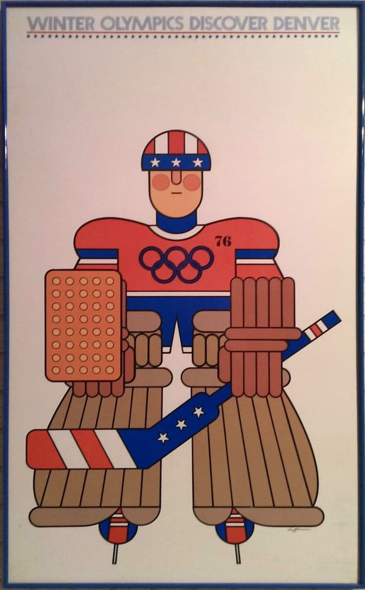 Discover Denver Poster Hockey Winter Olympics Colorado Poster, designed by Gene Hoffman, recreated by The Logo Smith