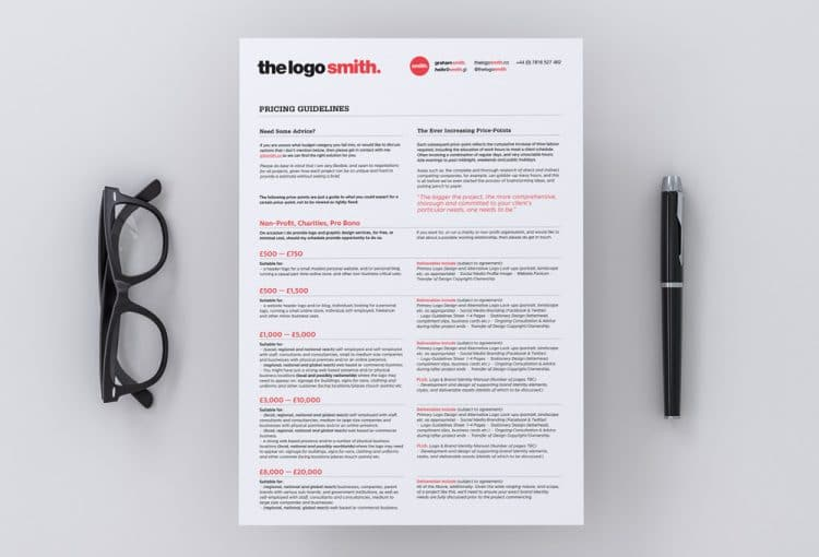 Logo Design Price List & Guidelines - Template for Download by The Logo Smith