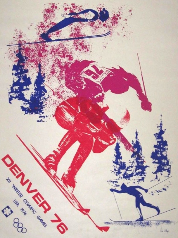Original Vintage Poster Denver 1976 Winter Olympics Signed Lawrence Van Alstyne
