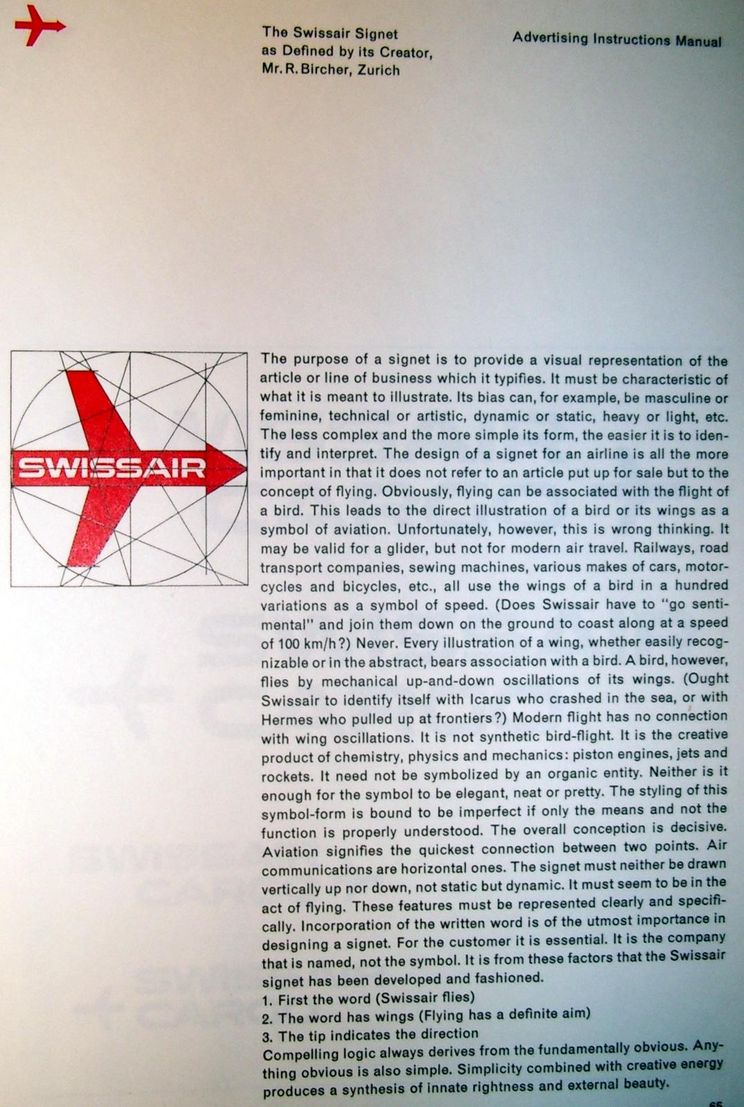 Swissair Signet statement Ruedi Bircher