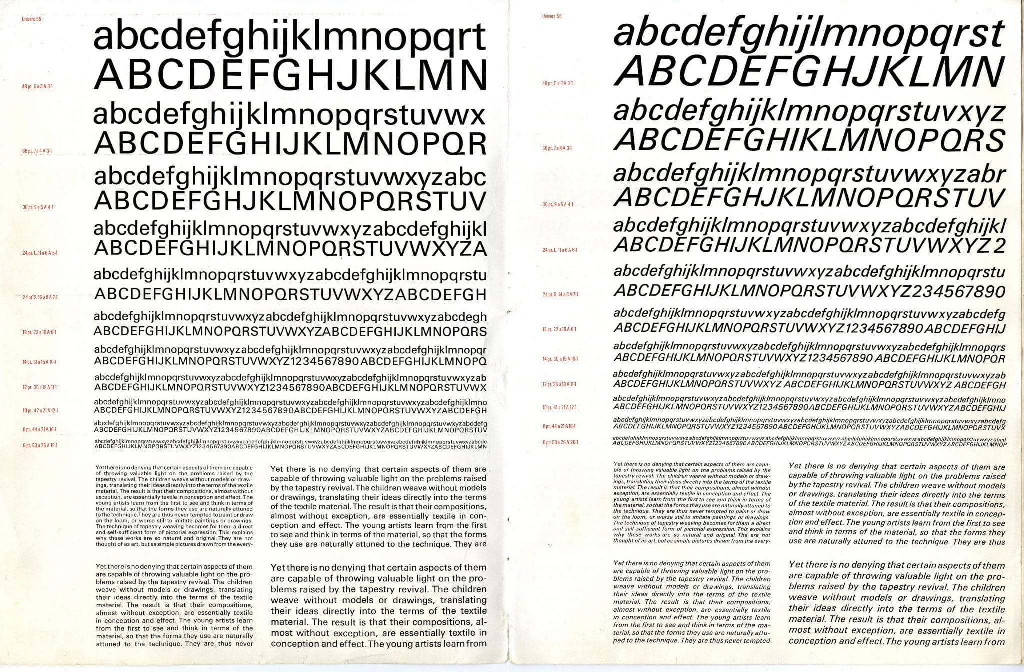 Univers Type Specimen Sheets Designed in 1957 by Adrian Frutiger 6